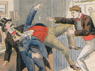 Fist fight from cover image of The Society of Assassination